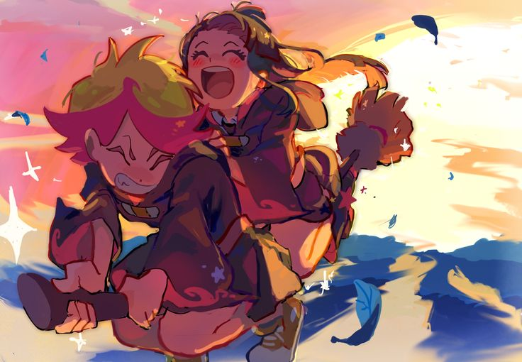 i've always been a big fan of Little Witch Academia but never got around to drawing fanart for it! My favs are Amanda and Akko and today's episode was so cute;; I LOVE THEM!!