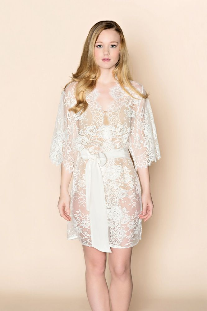 Image of Swan Queen lace kimono bridal robe in ivory or blush - Style 102  38d9289b5