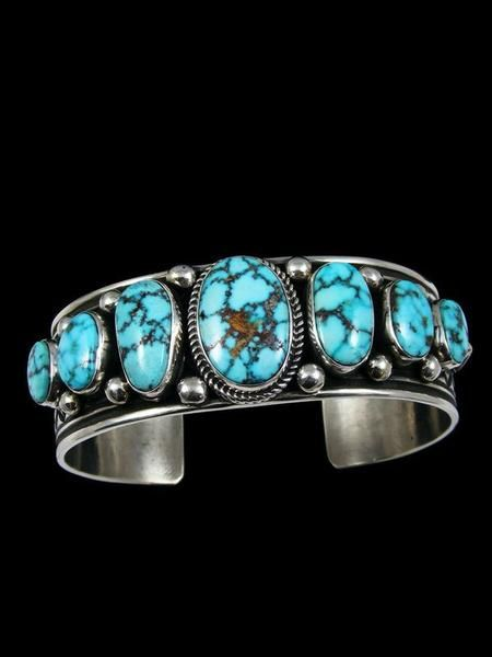 Native American Indian Jewelry Sterling Silver Natural Turquoise Bracelet by Albert Jake - PuebloDirect.com - 1