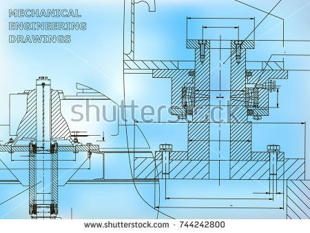 Mechanical engineering. Technical illustration. Backgrounds of engineering subjects. Technical design. Instrument making. Cover. Blue  #bubushonok #art #bubushonokart #design #vector #shutterstock  #technical #engineering #drawing #blueprint   #technology #mechanism #draw #industry #construction #cad