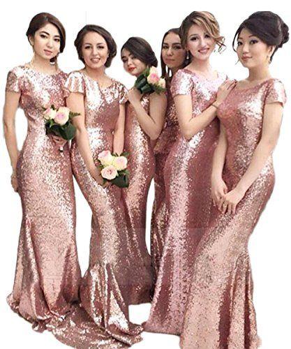 PinkMemory Multi Colors Pink Sequin Bridesmaid Dresses Lo...