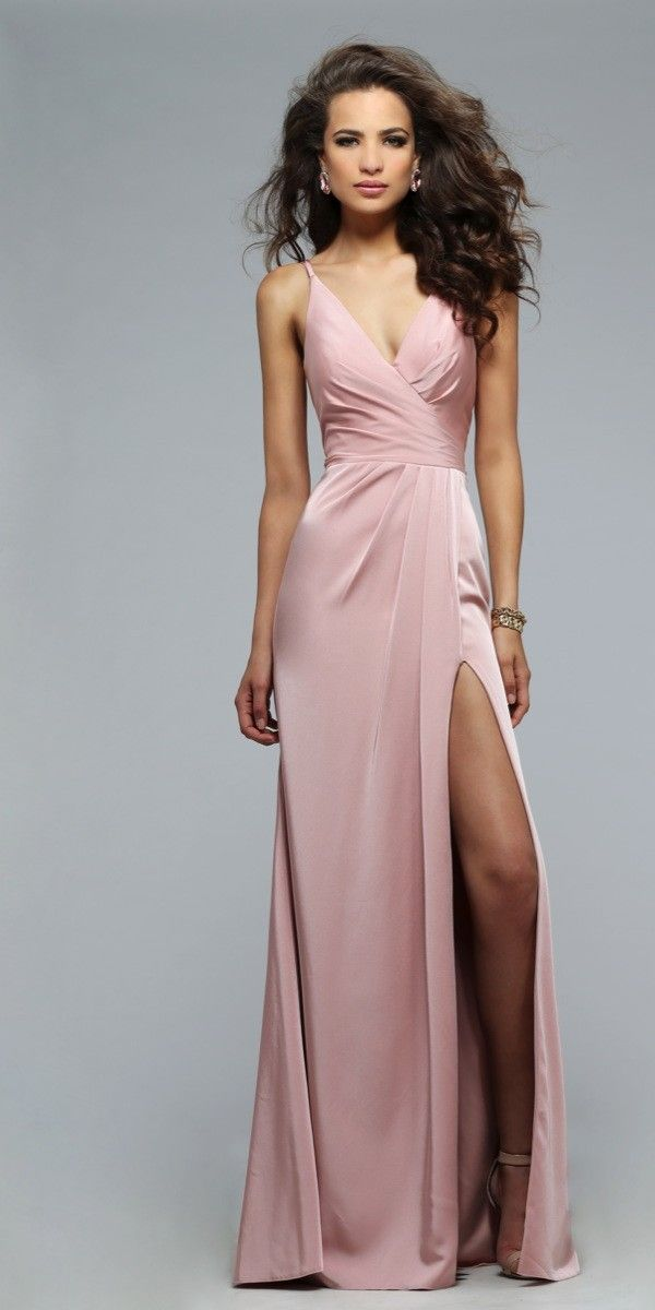Sophisticated Long Ruched Dress by Faviana. Colors: Dusty Pink, Coral, Navy, Wine. Size: 0-12