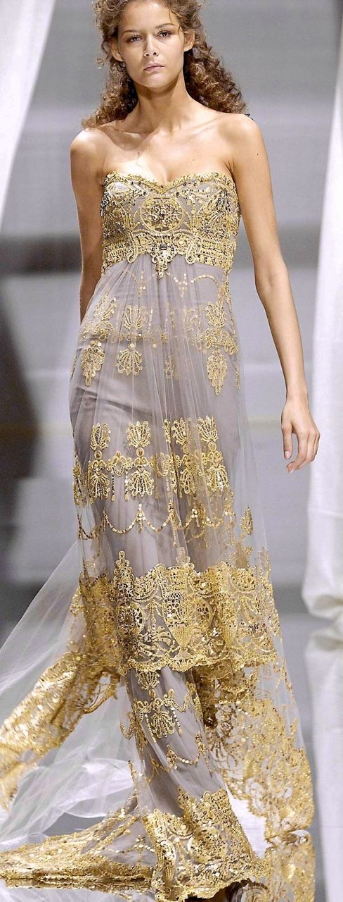 Zuhair Murad ~ Couture Strapless Grey Gown w Gold Embroidered Sheer Cover 2015 #fashion#glamour#dress