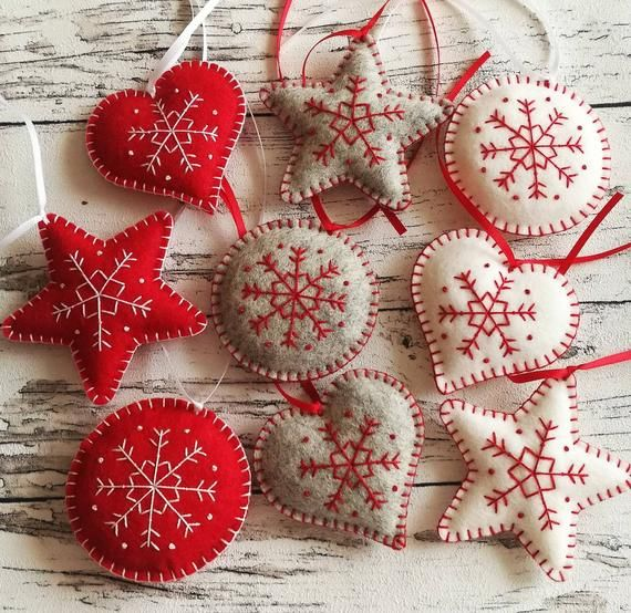 Set Of 9 Christmas Ornaments Felt Red White Grey Christmas Decorations Embroidered Ornaments Safe Ornaments Grey Heart Decor Felt Christmas Ornaments Felt Christmas Christmas Ornaments