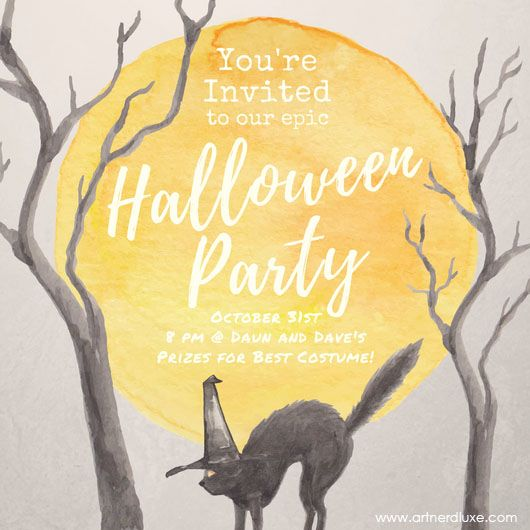Vintage style Halloween Party Invite created using https://www.canva.com/artnerdluxe. Personalize your own version with Canva. Artwork elements © ArtnerDluxe. www.artnerdluxe.com