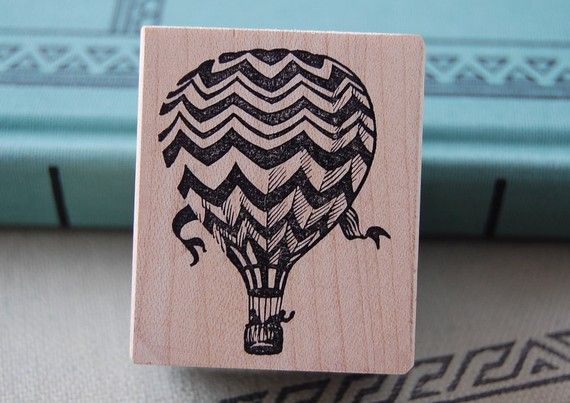 Hot Air Balloon Rubber Stamp 855 van 100ProofPress op Etsy, $8.50