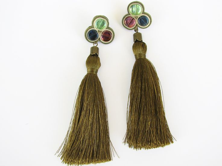 Statement earrings made of silk tassel, glass, natural leather, nickel-free metal and gold foil. www.iasoltanei.ro