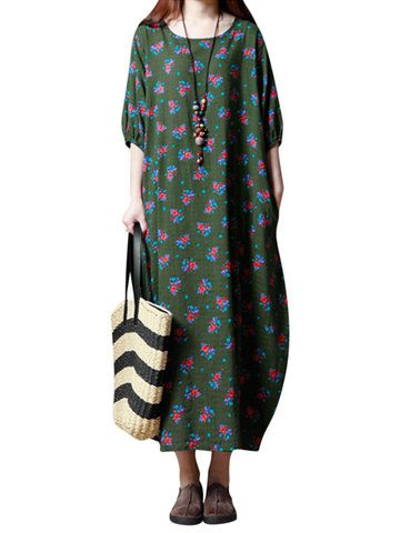 Gracila Vintage Women Floral Printed Half Sleeve Long Maxi Dresses Shopping Online - NewChic Mobile.