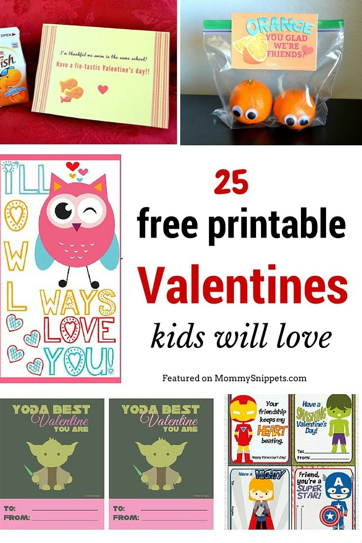 25 free printable Valentines kids will love!- MommySnippets.com