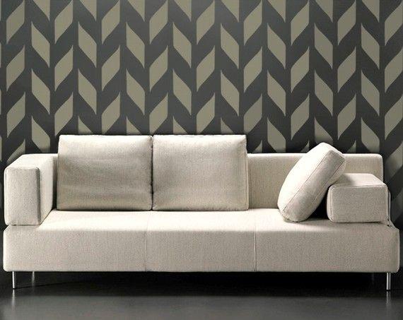 stencil for walls modern chevron allover wall stencil woven pattern reusable diy home decor chevron - Bedroom Stencil Ideas