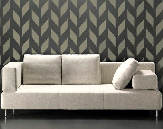 STENCIL for walls - Modern allover wall stencil - Woven Pattern - Reusable DIY Home Decor