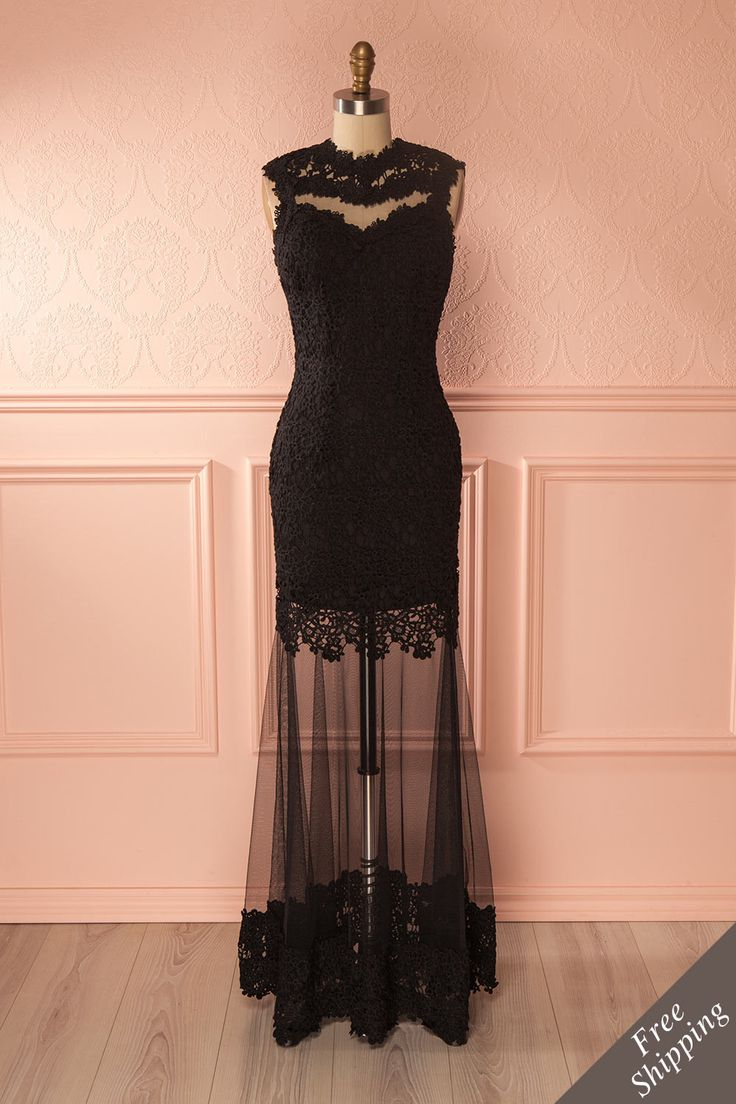 Robe de soirée ajustée en dentelle et filet noir - Black lace and mesh fitted gown
