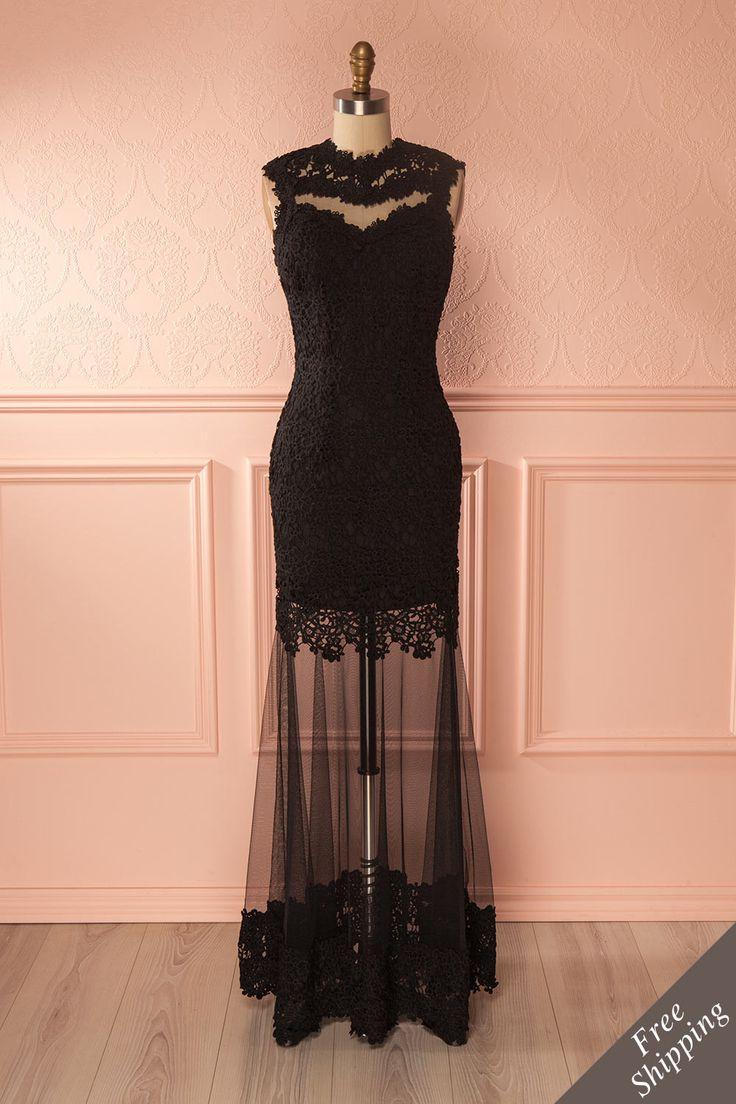 Robe de soirée ajustée en dentelle et filet noir - Black lace and mesh fitted gown