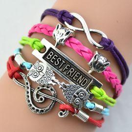 Silver Infinity heart fox wolf, cat, elephant Charm Awareness Ribbon bracelet