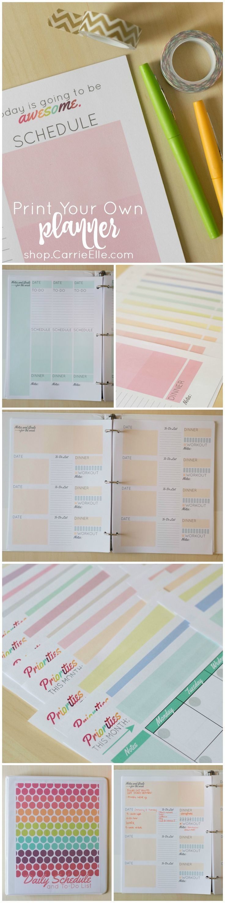 Print your own planner! These printable daily planner pages and to-do lists come in several different formats, tons of colors, and even include monthly calendars - everything you need to DIY your very own planner on the cheap!