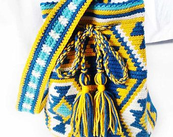 Wayuu Bag - Crochet Bag - Yarn Tote - Wayuu Tribal Style Bag - Hippie Bag - Tribal Boho Bag - Boho Tote - Artisan Woven Bag - Aztec Bag