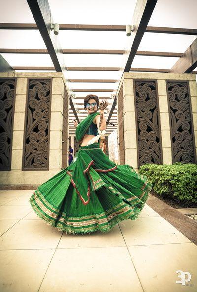 Light Lehengas - Twirling Bride in a Green Cotton Lehenga | WedMeGood #wedmegood #indianwedding #indianbride #light #lehenga #green #cotton #twirling