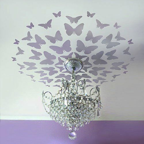 Little paint via a great stencil will add substantial drama and style. #nursery #lighting