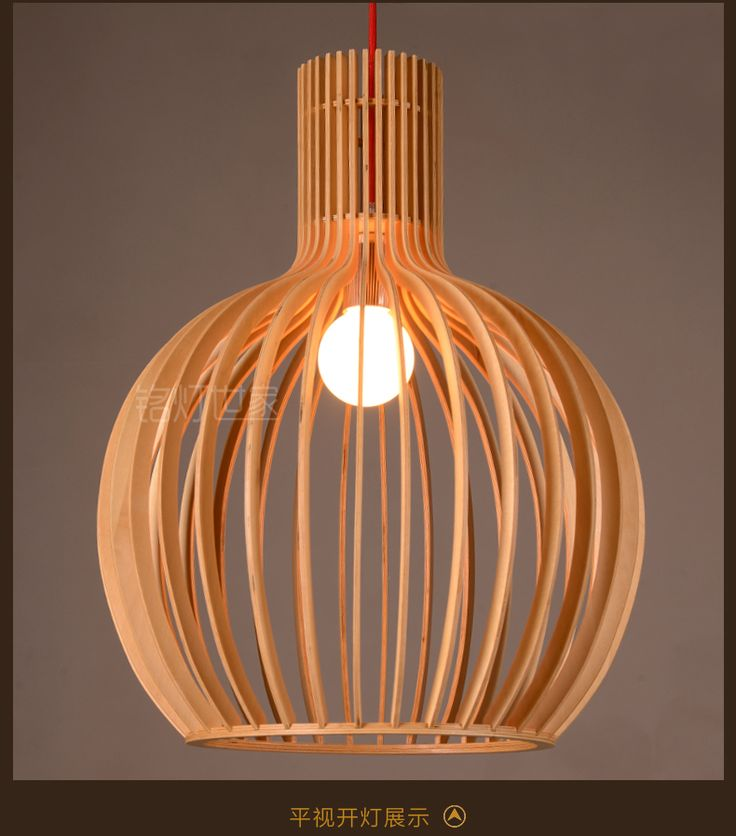 Lantern Shape Pure Natural Wood Makes Modern Pendant Lamp Vintage Wood  Droplight Free Shipping In