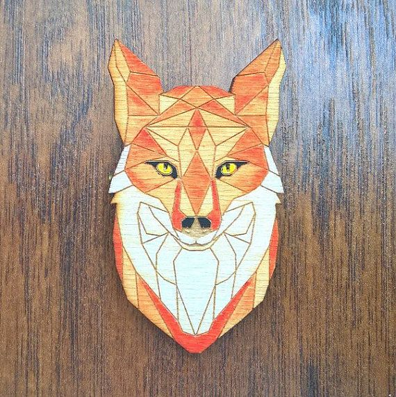 Brooch Fox plywood от WorkshopLastochka на Etsy