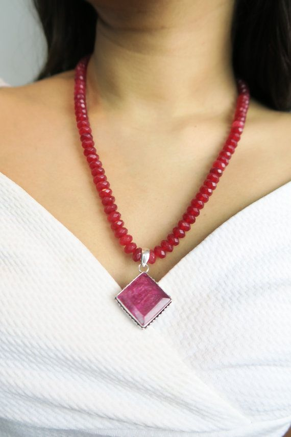 Boho Style Fashion Chic Jewelry Handmade beaded long red diamond pendant semi precious stones  by SZJewels on Etsy