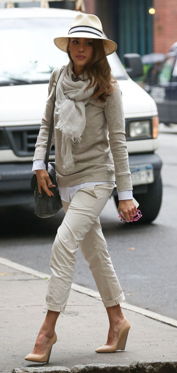 panama hat, sweatshirt, cropped chinos, nude wedges, scarf, neutrals, Jessica Alba. I'd wear with flats instead