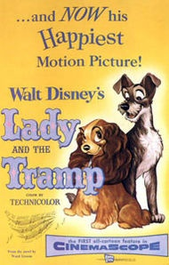 Lady and the TrampMovie Posters, Walt Disney, Picture-Black Posters, Disney Animal, Tramp 1955, Lady, Favorite Movie, Animal Movie, Disney Movie