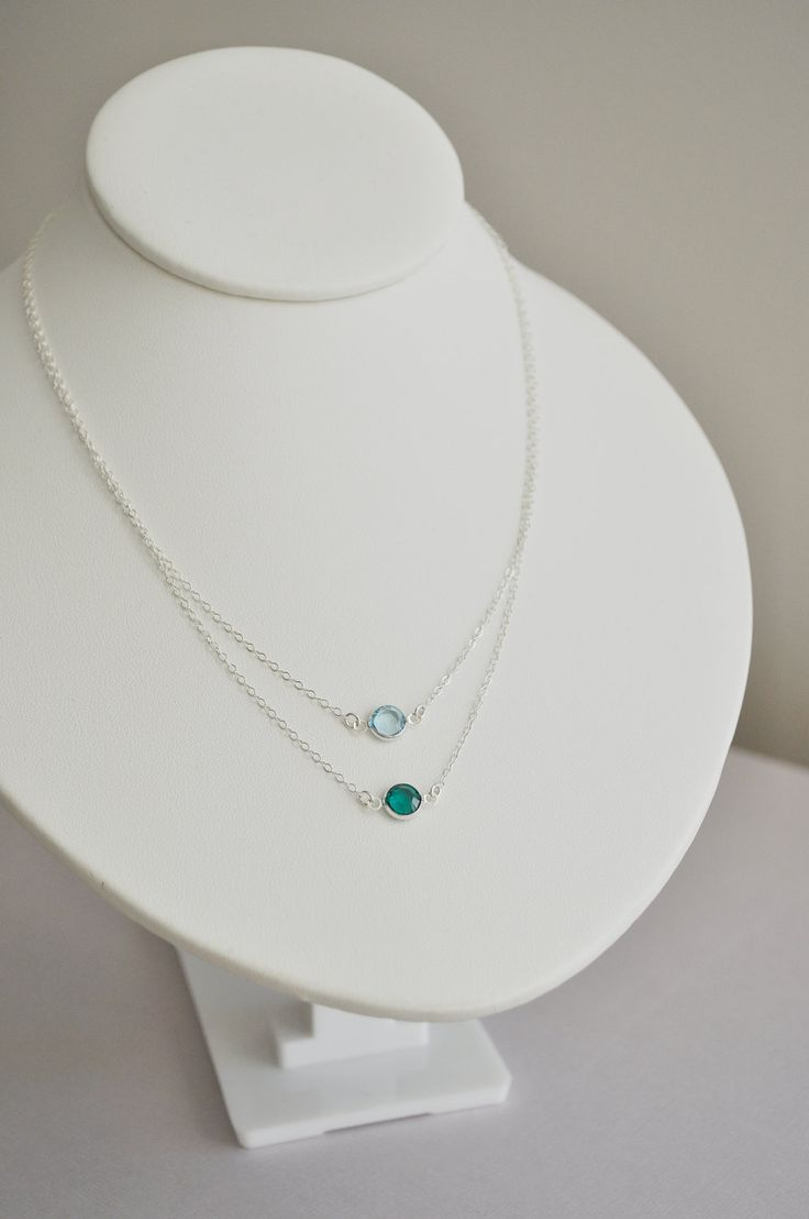 Giada Birthstone Necklace - round swarovski crystal gem sterling silver - custom birthstone color - simple everyday jewelry - mother. $36.00, via Etsy.