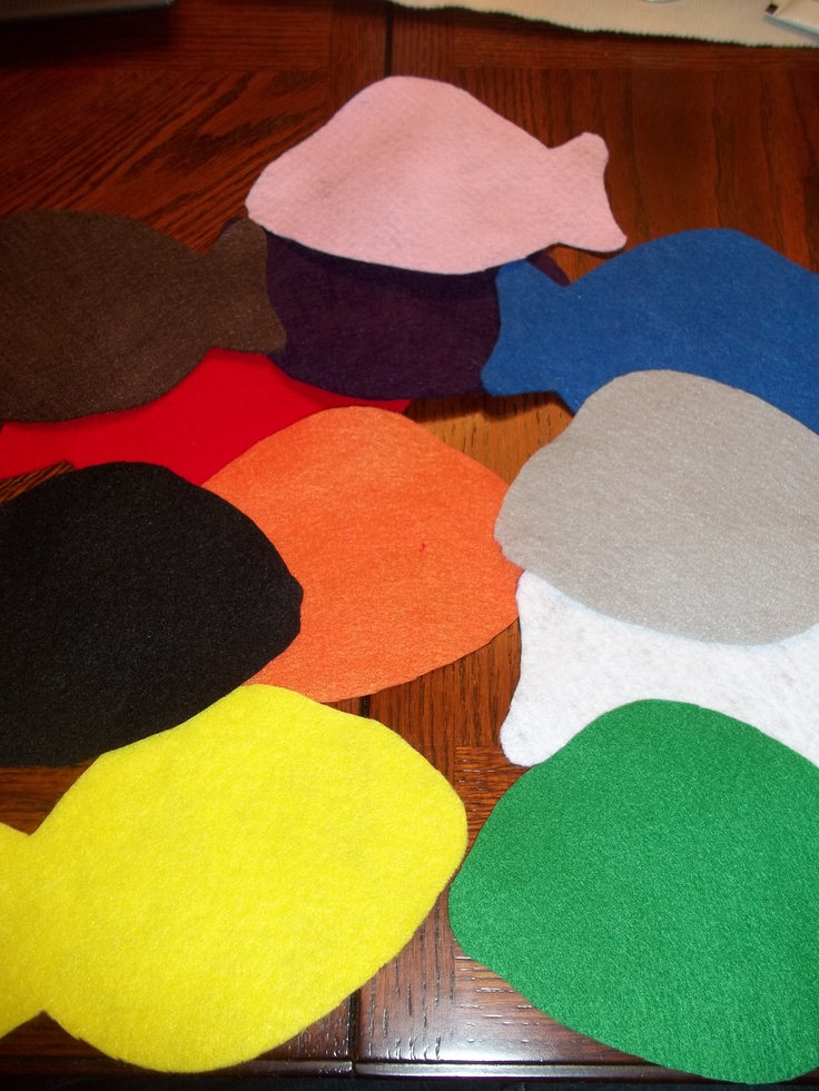 Circle Time Activity! Cut fish shapes out of different colors of felt, I used all the colors of the rainbow plus pink, black, gray, brown and white .  Place on a flannel board or on the carpet.  Recite this rhyme: There are so many fish in the deep blue sea...what color fish does (insert childs name here) see?  My kids played this over and over.