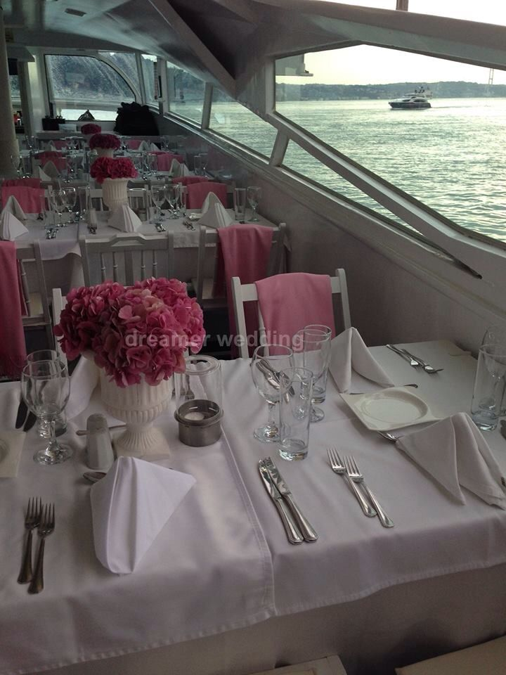 Iranian boat wedding at Bosphorus, Istanbul.Pink and white theme..