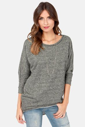 Quick Study Charcoal Grey Top at LuLus.com! Cozy chic! #lulus #holidaywear