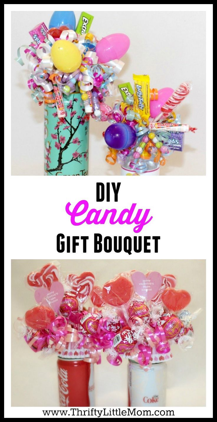 DIY Candy Gift Bouquet.  Make a cute themed candy bouquet or goody bouquet set for birthdays gifts, graduation gifts, thank you gifts and even Father's Day Gifts.  Load them with high school or college colors and add the person's favorite candy treats! Step by step tutorial.