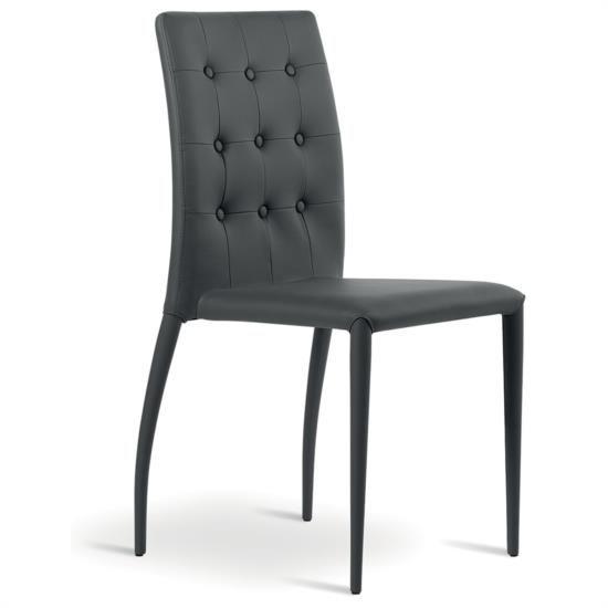 Sedia in metallo impilabile rivestita in ecopelle