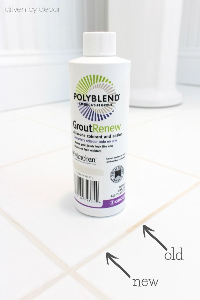 The only product I've found to solve the dilemma of how to get your grout clean and white. More info on how to use Polyblend Grout Renew in this post! #diy #cleaning #tips #tile #bathroom #bathrooms #grout