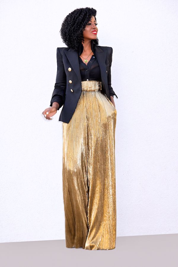 Style Pantry | Double Breasted Blazer + High Waist Gold Lame Pants