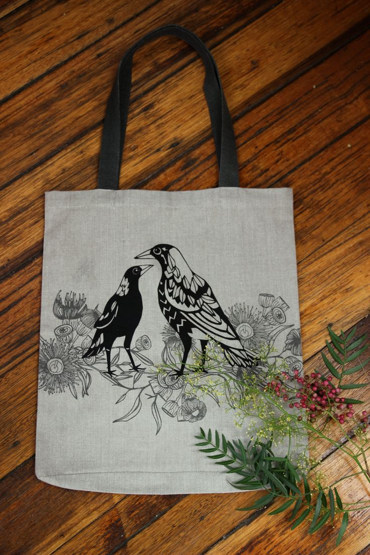 Magpie & Gum Blossom shopper bag.... Australian design #certifiedorganic #australiancertifiedorganic #shopperbag #magpie #gumblossom #organiccotton #australianbirds #australiannatives