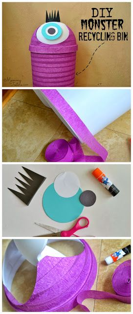 Make this DIY Monster recycling bin to get those little ones to recycle.  Also perfect for trash or toy storage like those big Duplo blocks.  #DIY #Monster #Recycle #storage