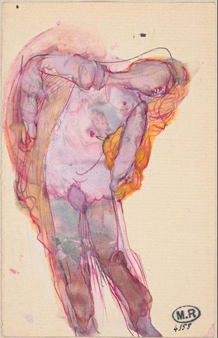 Auguste Rodin, Femme nue dans ses voiles, around 1910