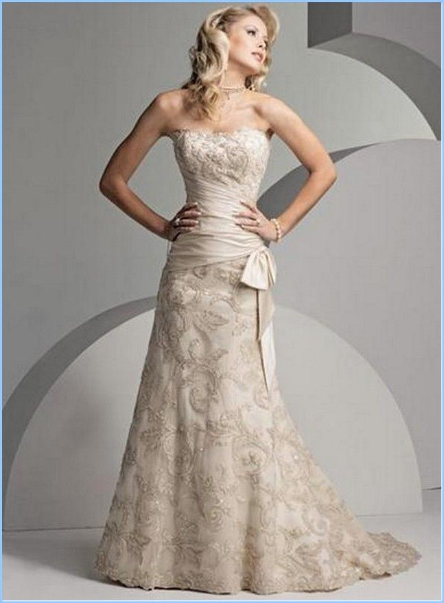 Simple casual yet elegant wedding dress for older bride for Bridal dresses for second weddings