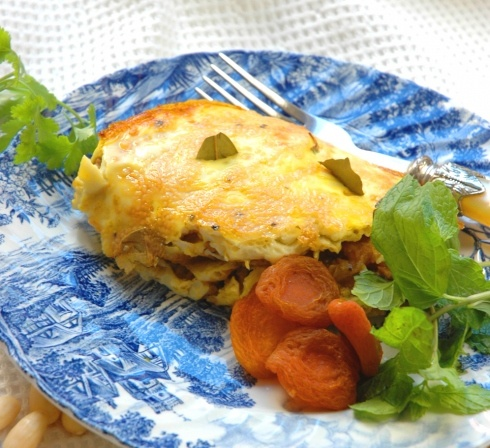 """Bobotie, a mince,dried apricots and cashew """"bake"""", very popular in the Cape"""