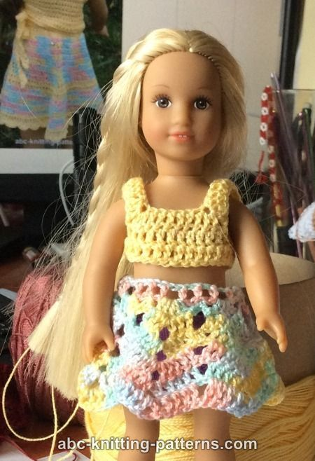 ABC Knitting Patterns - American Girl Doll Mini Sundress, Skirt and Top Summer Set