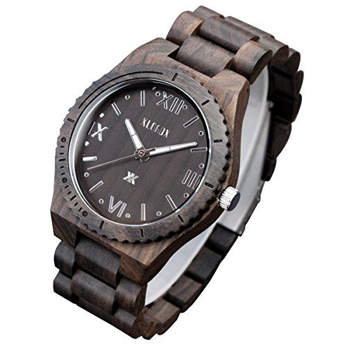 XLORDX Holzuhr Schwarz Roman Bambus Datum Armbanduhr Herrenuhr aus Holz Freund Ehemann Geschenk Gift Watch - http://uhr.haus/xlordx/xlordx-holzuhr-schwarz-roman-bambus-datum-aus