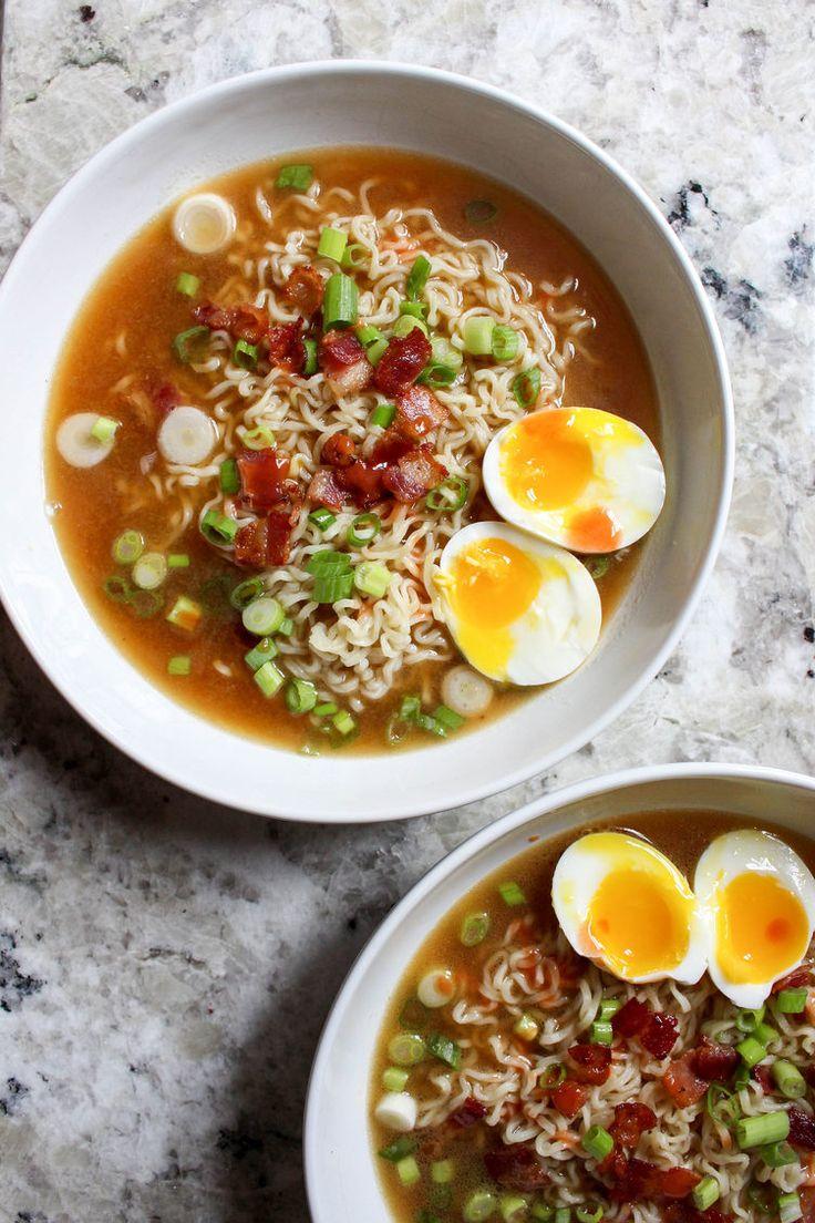 14. Homemade Ramen With Bacon and Soft-Boiled Eggs #healthy #ramen #recipes http://greatist.com/eat/healthier-ramen-recipes