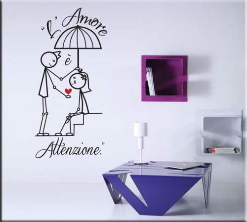 Adesivi murali amore attenzione disegno sono particolari decorazioni da parete che mettono in evidenza l'amore arricchendo l'ambiente della casa prescelto.