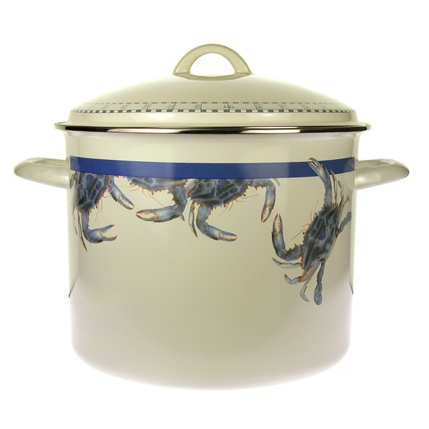 Stainless Steel Rim Nautical Decor 16 Quart Crab Stock Pot For Clam Bake  Cooking.