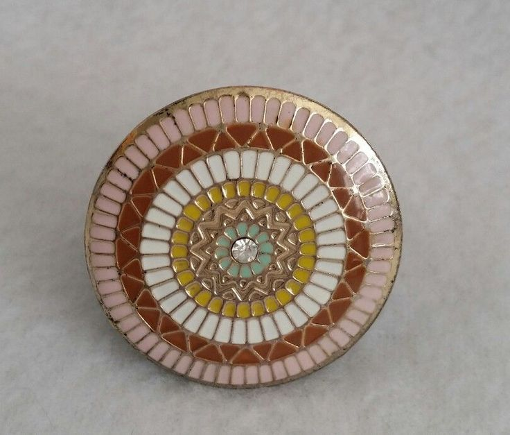 Black Plastic & Metal sundial look~browns, white, goldtone, circle hippie ring  #hippie