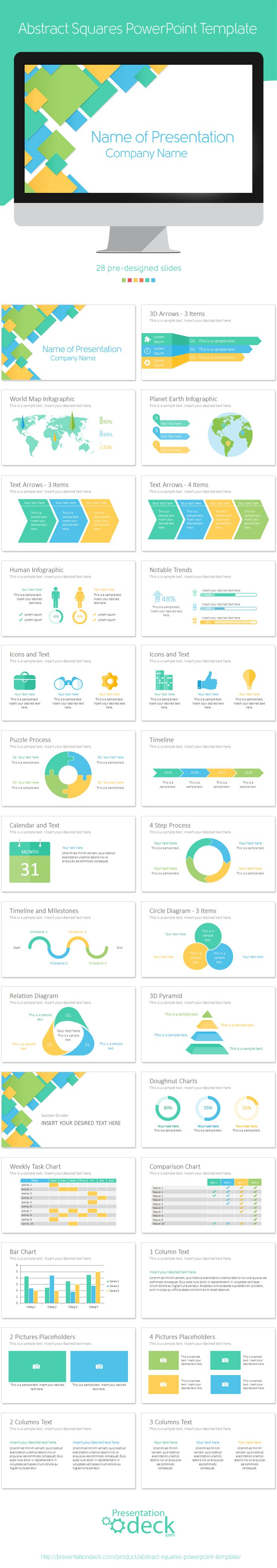 Abstract squares PowerPoint template with 28 pre-designed slides. #presentations #powerpoint