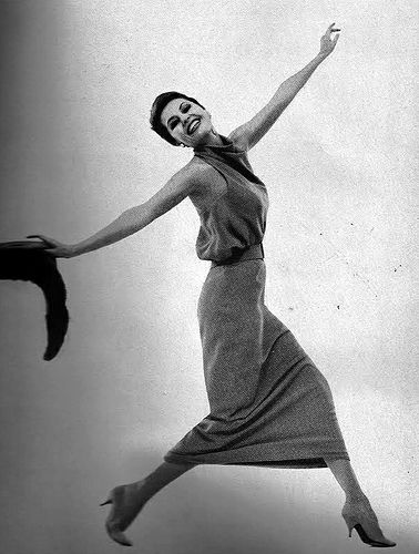 Cyd Charisse in dress by Maurice Rentner, photo by Richard Avedon, Harper's Bazaar, 1961