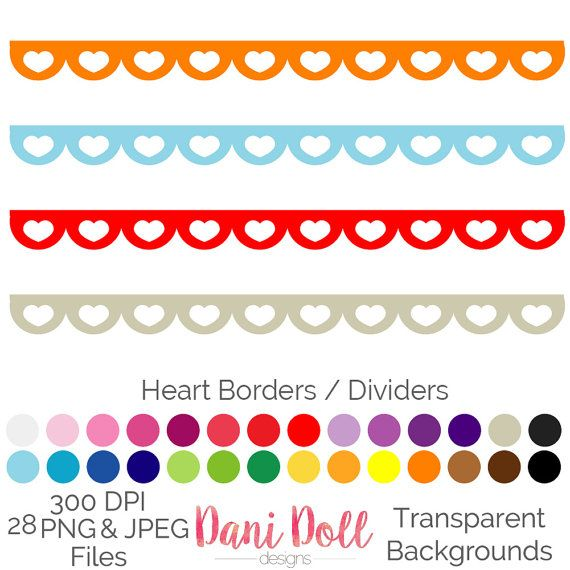Heart Scallop Border Divider 28 Colours Clip Art Elements PNG JPEG Commercial Use Scrapbooking Instant Download by danidolldesignsx