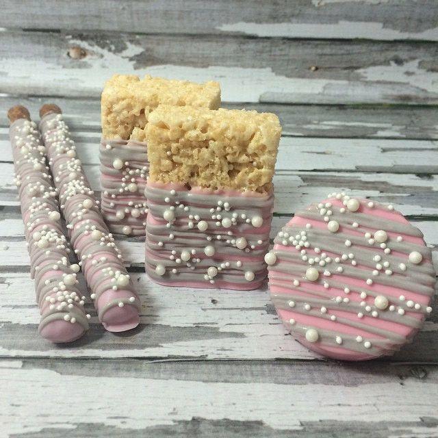 Pink Grey Gray Pearl Birthday Party Sweets Table Set Chocolate Covered Pretzels Rice Krispie Crispy Krispy Treats Oreos